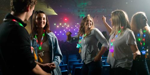 grad nite guests dancing in Grand Music Hall DJ zone