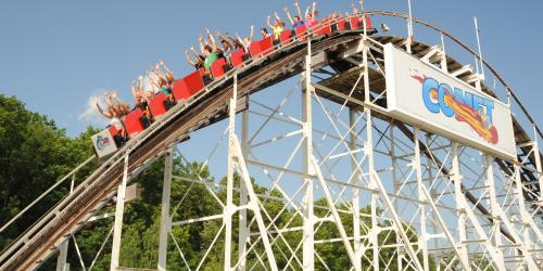 The Comet roller coaster at Six Flags Great Escape