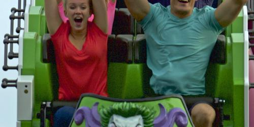 Two riders in the front seat of The Joker