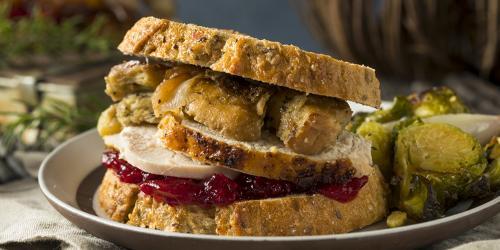 Thanksgiving Turkey Sandwich with Turkey Cranberries Stuffing and Gravy
