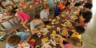 large group eating at a table