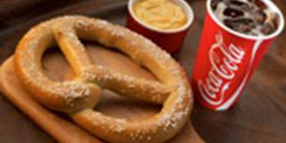 Large Pretzel and Coca-Cola