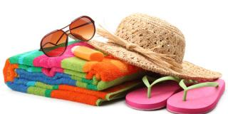 Beachwear - flip flops, suntan lotion, towel, bag