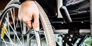 Wheelchair wheel close-up