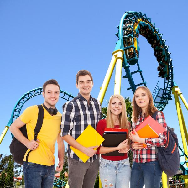 Students in front of a roller coaster