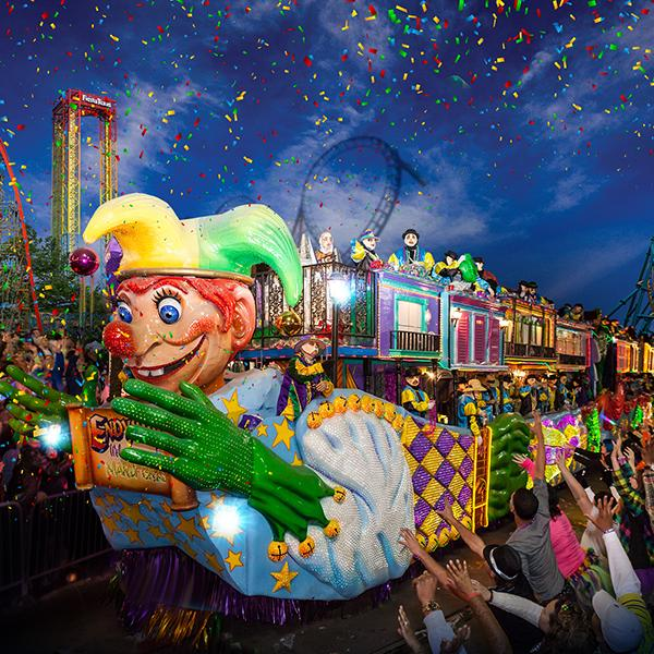 Mardi Gras parade at Six Flags