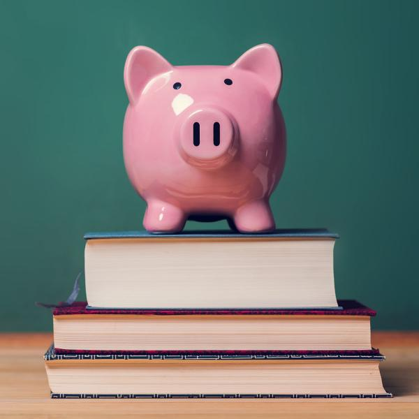 Piggy bank on a pile of books.