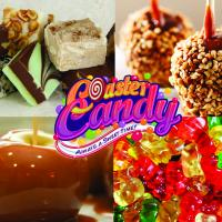 Coaster Candy logo with a variety of candy treats in the background