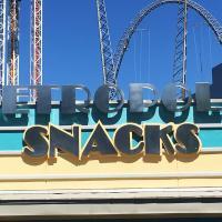 Metropolis Snacks sign on building