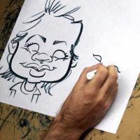 Caricature artist working