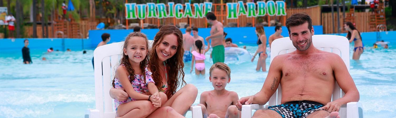 Guests at hurricane bay at hurricane harbor