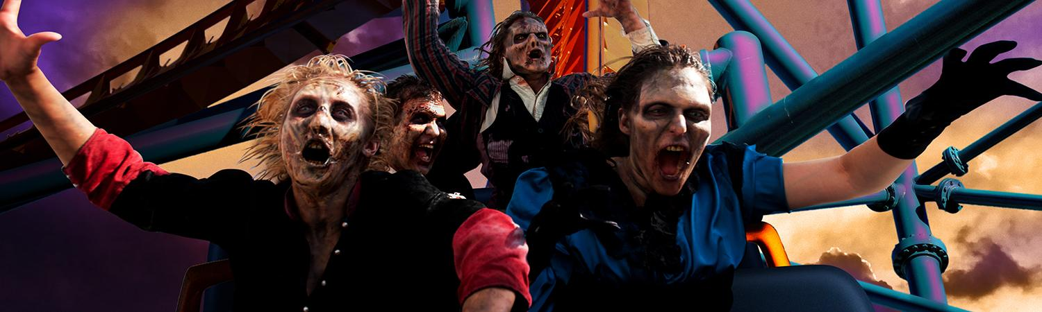 Zombies on a coaster during Fright Fest.