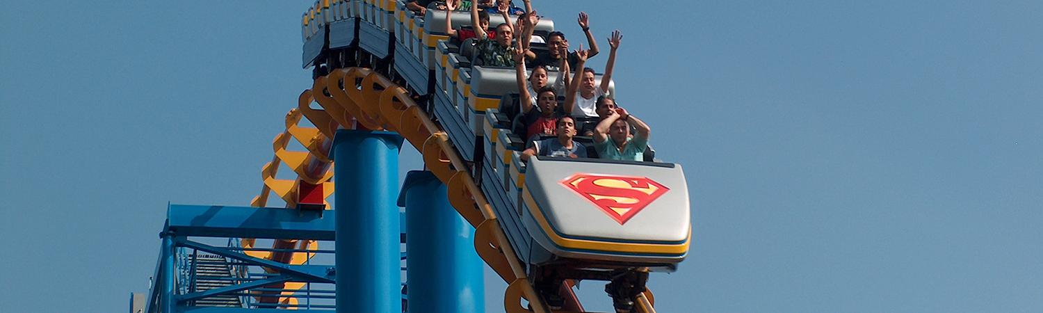 Guests on Superman coaster at Six Flags Mexico