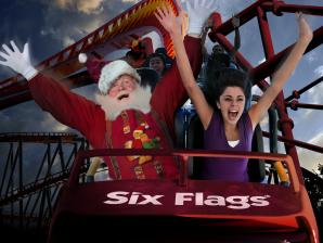 Santa Clause and guest on a coaster