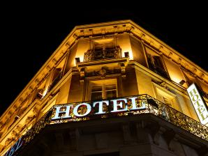 Hotel facade and sign