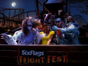 A group of scary ghouls riding a swinging ship with a screaming girl, full moon and roller coaster in background.