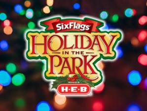 holiday in the park presented by H E B logo over faded rainbow Christmas lights
