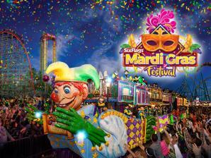 Mardi Gras float and logo