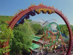 Fireball ride and Boomerang roller coaster