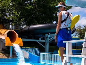 Lifeguard keeps watch at Hurricane Harbor