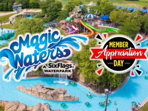 Magic Waters Splash Magic River in the background with the Magic Waters splash logo along side with the Member Appreciation logo.