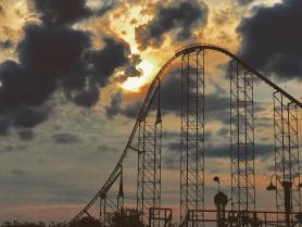SUPERMAN: Ride of Steel at sunset
