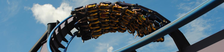 BATMAN THE DARK KNIGHT™ soars through an inversion at Six Flags New England