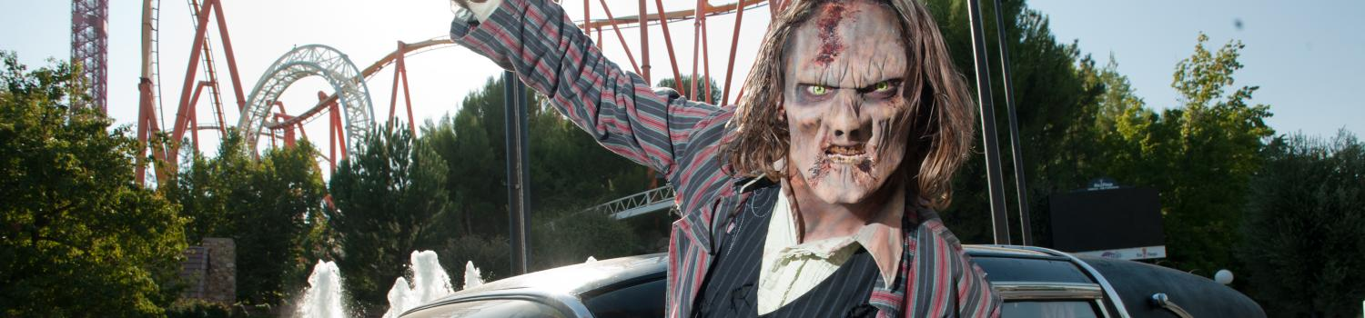Zombie climbing out of a hearse