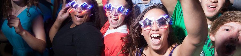 Teens celebrating at grad nite.