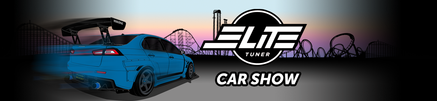 two cartoon sports cars with cartoon coaster line art and sunset in background