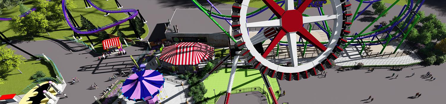 Aerial rendering of HARLEY QUINN Spinsanity at Six Flags New England