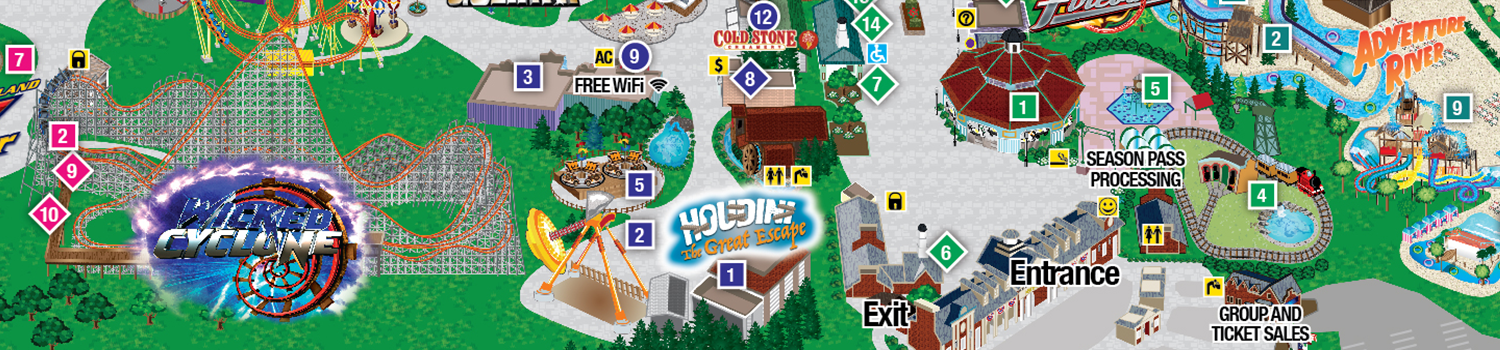 Park Map of Six Flags New England