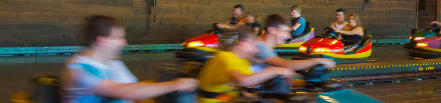 Guests enjoying Stampede Bumper Cars at Six Flags New England