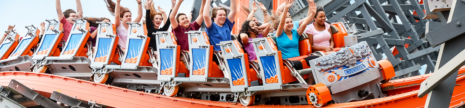 Riders on Wicked Cyclone at Six Flags New England