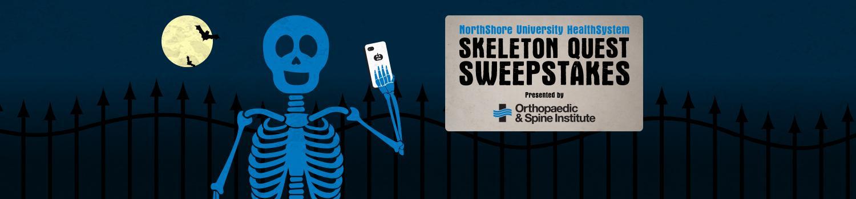 skeleton taking a selfie in a grave yard