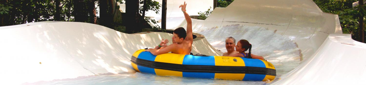 Guests on raft ride at Hurricane Harbor Concord