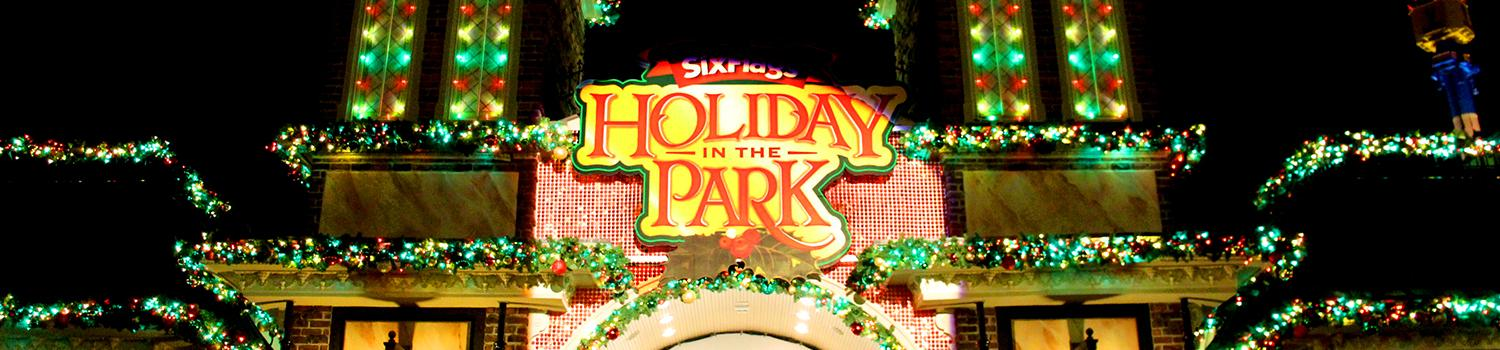 Holiday in the Park Sign at Front Gate