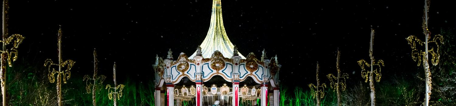 Carousel lit up during Holiday in the Park