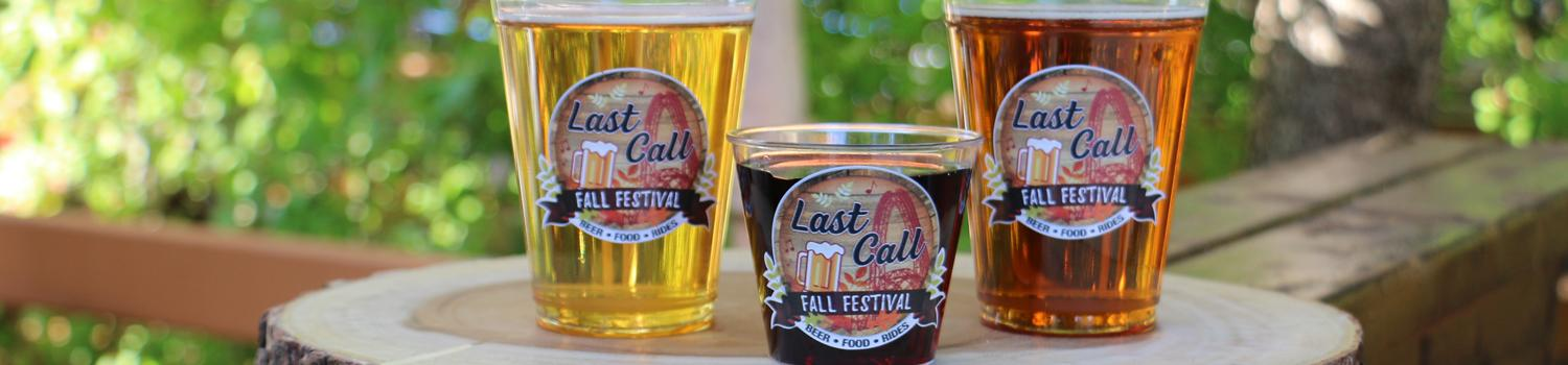 Last Call Fall Festival Beers and Wine Glass with Logo on them