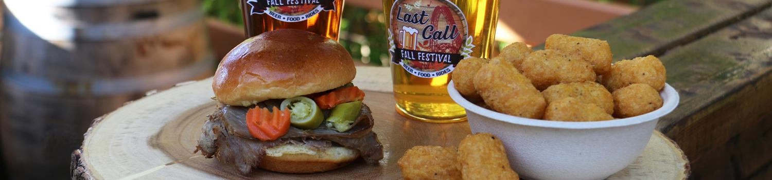 Last Call Fall Festival Italian Beef Sandwich Slider with Cheese Curds and Beers