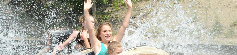 Family splashing down Logger's Run