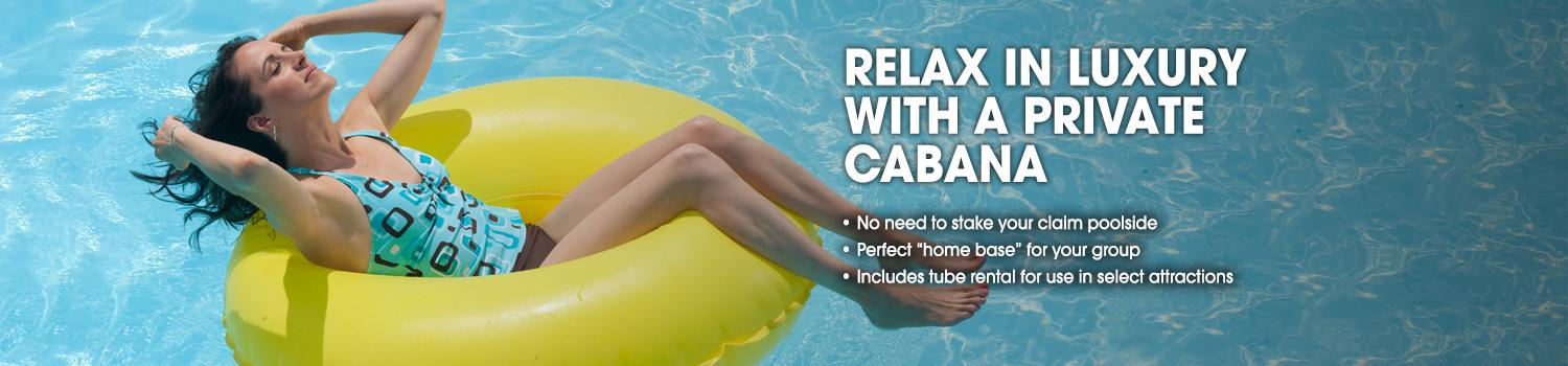 Relax in Hurricane Harbor with a private cabana