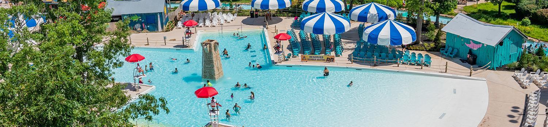 Aerial view of Calypso Springs pool