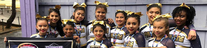 group of girl cheerleaders smiling