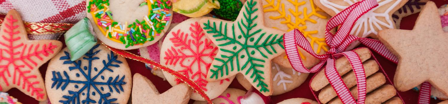 Variety of colorful holiday cookies