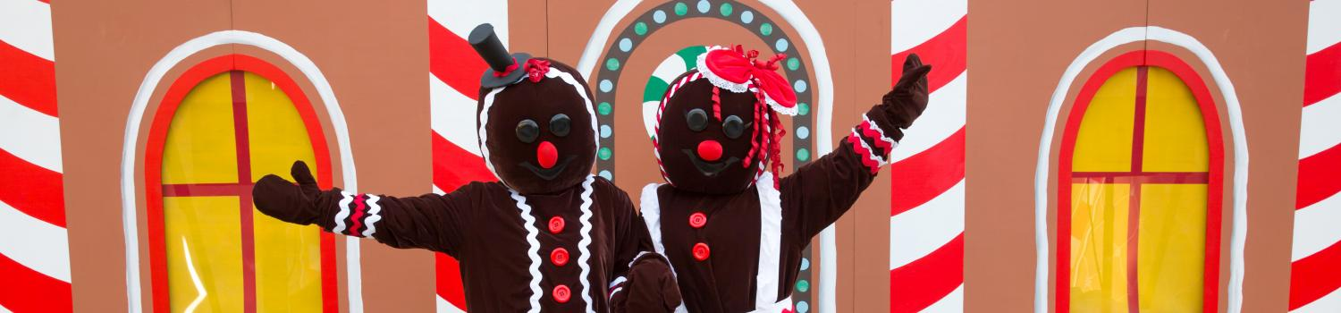 Dot and Drop Gingerbread posing for a photo in front of their gingerbread house