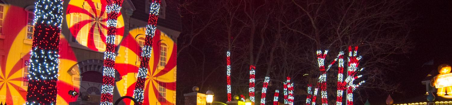 Peppermint red and white lit trees