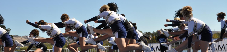 cheerleaders in flight