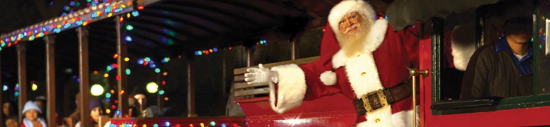 Santa riding the train.