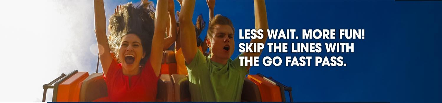 Guests riding a coaster after using the go fast pass